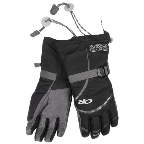 Outdoor Research Highcamp PrimaLoft® Gloves - Waterproof, Insulated (For Women) in Black/Charcoal