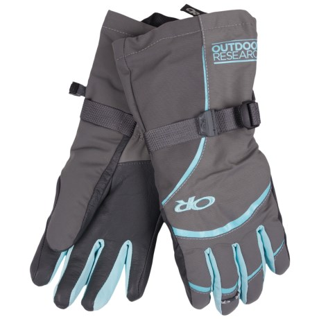 Outdoor Research Highcamp PrimaLoft® Gloves - Waterproof, Insulated (For Women) in Pewter/Charcoal/Pool
