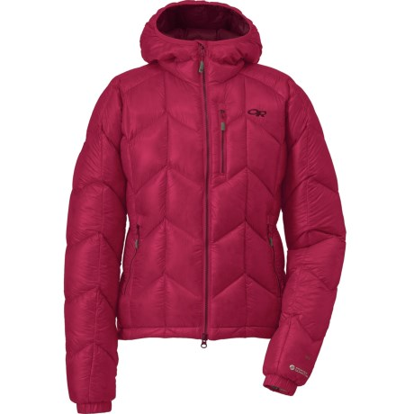 Outdoor Research Incandescent Down Hooded Jacket - 800+ Fill Power (For Women) in Desert Sunrise/Mulberry