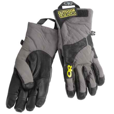 Outdoor Research Lodestar Polartec® Power Shield® Gloves (For Men) in Pewter/Black/Lemongrass - Closeouts