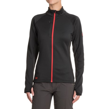 Outdoor Research Radiant Hybrid Fleece Jacket (For Women) in Black/Flame