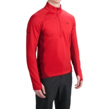 Outdoor Research Radiant Hybrid Fleece Pullover Shirt - UPF 15, Zip Neck (For Men) in Hot Sauce/Redwood - Closeouts