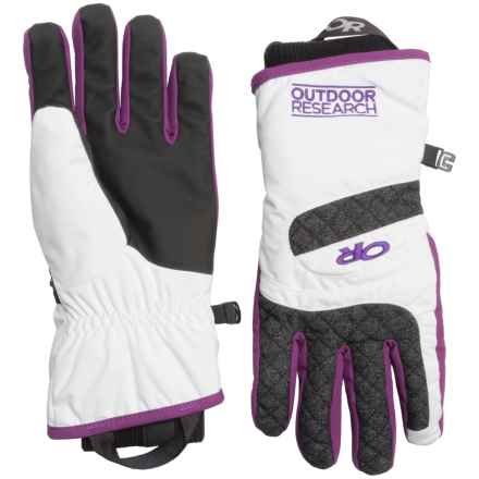 Outdoor Research Riot Gloves - Waterproof, Insulated (For Women) in White/Charcoal/Orchid - Closeouts