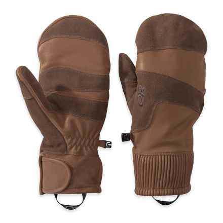 Outdoor Research Rivet Mittens - Leather (For Men) in Coffee - Closeouts