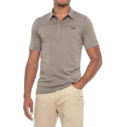 Outdoor Research Sequence Polo Shirt - Zip Neck, Short Sleeve (For Men) in Pewter/Ember - Closeouts