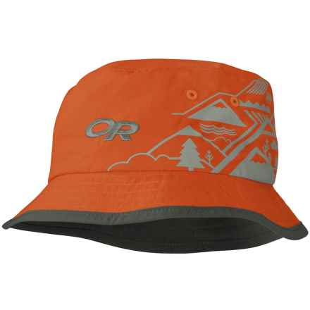 Outdoor Research Solstice Bucket Hat - UPF 30 (For Kids) in Diablo/Dark Grey W/Mountains - Closeouts
