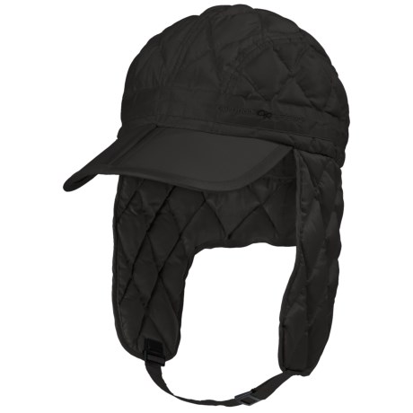 Outdoor Research Transcendent Down Ear Flap Hat - 650 Fill Power (For Men and Women) in Black
