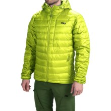 Outdoor Research Transcendent Down Hoodie Jacket - 650 Fill Power (For Men) in Lemongrass/Evergreen - Closeouts