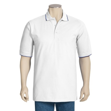 Outer Banks Active Pinpoint Pique Polo Shirt - Short Sleeve (For Men) in White/Navy/Bimini Blue