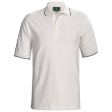 Outer Banks Active Pinpoint Pique Polo Shirt - Short Sleeve (For Men) in White/Navy/Bimini Blue - Closeouts