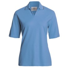 Outer Banks Active Pinpoint Pique Polo Shirt - Stretch Cotton, Short Sleeve (For Women) in Bimini Blue/Navy/White - Closeouts
