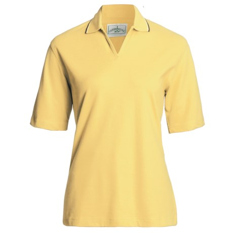 Outer Banks Active Pinpoint Pique Polo Shirt - Stretch Cotton, Short Sleeve (For Women) in Butter/Navy/Bimini Blue