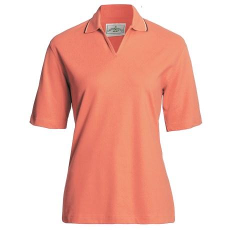 Outer Banks Active Pinpoint Pique Polo Shirt - Stretch Cotton, Short Sleeve (For Women) in Clay/Midnight Navy/Natural