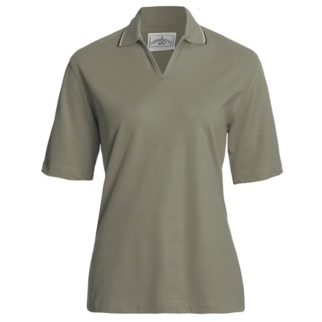 Outer Banks Active Pinpoint Pique Polo Shirt - Stretch Cotton, Short Sleeve (For Women) in Moss/Midnight Navy/Natural