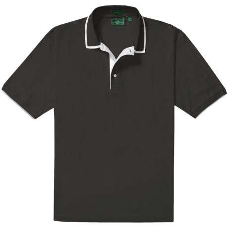 Outer Banks Diamond Knit Polo Shirt - Egyptian Cotton, Short Sleeve (For Men) in Black/White