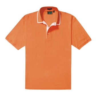 Outer Banks Diamond Knit Polo Shirt - Egyptian Cotton, Short Sleeve (For Men) in Melon/White