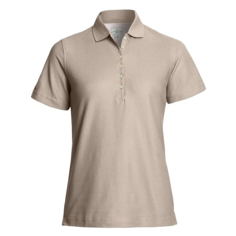 Outer Banks Diamond Knit Polo Shirt - Egyptian Cotton, Short Sleeve (For Women) in Putty