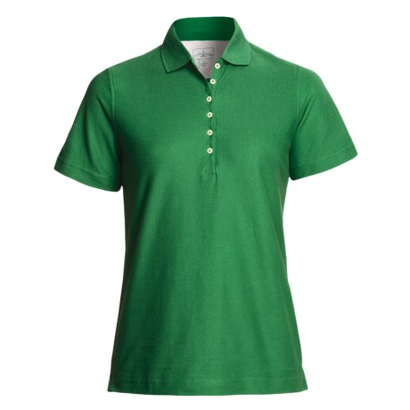 Outer Banks Diamond Knit Polo Shirt - Egyptian Cotton, Short Sleeve (For Women) in Turf Green