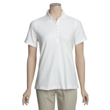 Outer Banks Diamond Knit Polo Shirt - Egyptian Cotton, Short Sleeve (For Women) in White - Closeouts