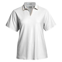 Outer Banks Egyptian Diamond-Knit Polo Shirt - Two-Ply Egyptian Cotton, Short Sleeve (For Women) in White/Putty - Closeouts