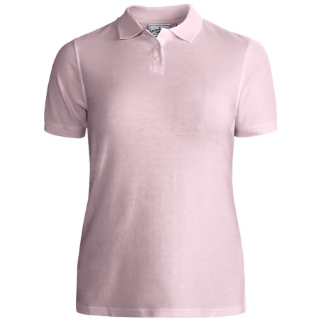 Outer Banks Essential Blended Pique Polo Shirt - Wrinkle Resistant, Short Sleeve (For Women) in Red