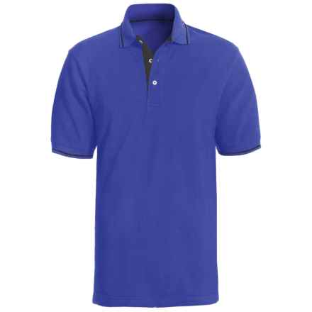 Outer Banks Essential Pique Polo with Stripe Trim - Short Sleeve (For Men) in Bright Royal/Black - Closeouts