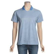 Outer Banks Micro Stripe Jersey Polo Shirt - Double Mercerized Cotton, Short Sleeve (For Women) in Natural/Bimini Blue - 2nds