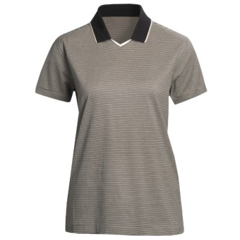 Outer Banks Micro Stripe Jersey Polo Shirt - Double Mercerized Cotton, Short Sleeve (For Women) in Natural/Black