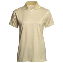 Outer Banks Micro Stripe Jersey Polo Shirt - Double Mercerized Cotton, Short Sleeve (For Women) in Natural/Sea Grass - 2nds