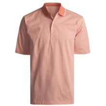 Outer Banks Microstripe Jersey Polo Shirt - Double Mercerized Cotton, Short Sleeve (For Men) in Natural/Clay - 2nds
