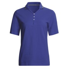 Outer Banks Nautical Stripe Polo Shirt - Cotton Pique, Short Sleeve (For Women) in Royal/Navy/White - 2nds