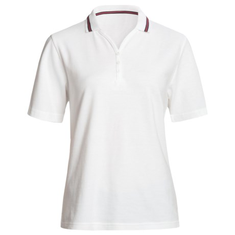 Outer Banks Nautical Stripe Polo Shirt - Cotton Pique, Short Sleeve (For Women) in White/Navy/Red