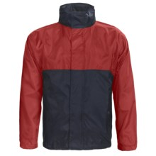 Outer Banks Pack Away Jacket - Lightweight, Hidden Hood (For Men and Women) in Bright Red/Navy - Closeouts