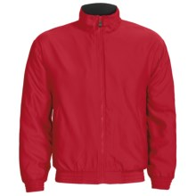 Outer Banks Peached Microfiber Jacket - Fleece Lining (For Men and Women) in Bright Red/Navy - Closeouts