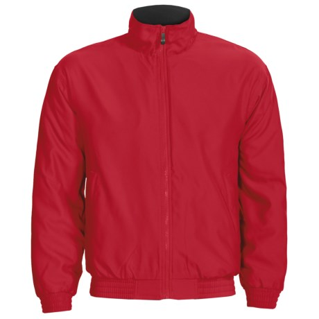 Outer Banks Peached Microfiber Jacket - Fleece Lining (For Men and Women) in Bright Red/Navy