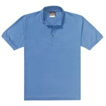 Outer Banks Pima Pique Polo Shirt - Double Mercerized, Short Sleeve (For Men) in Bimini Blue - Closeouts