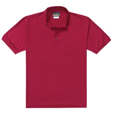 Outer Banks Pima Pique Polo Shirt - Double Mercerized, Short Sleeve (For Men) in Cranberry