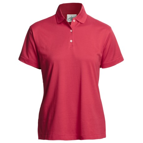 Outer Banks Polo Shirt - Mercerized Pima Pique Cotton, Short Sleeve (For Women) in Cranberry