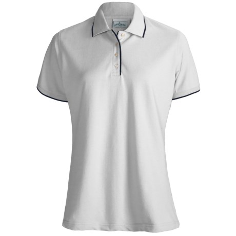 Outer Banks Ultimate Cotton Fashion Polo Shirt - Short Sleeve (For Women) in White/Navy