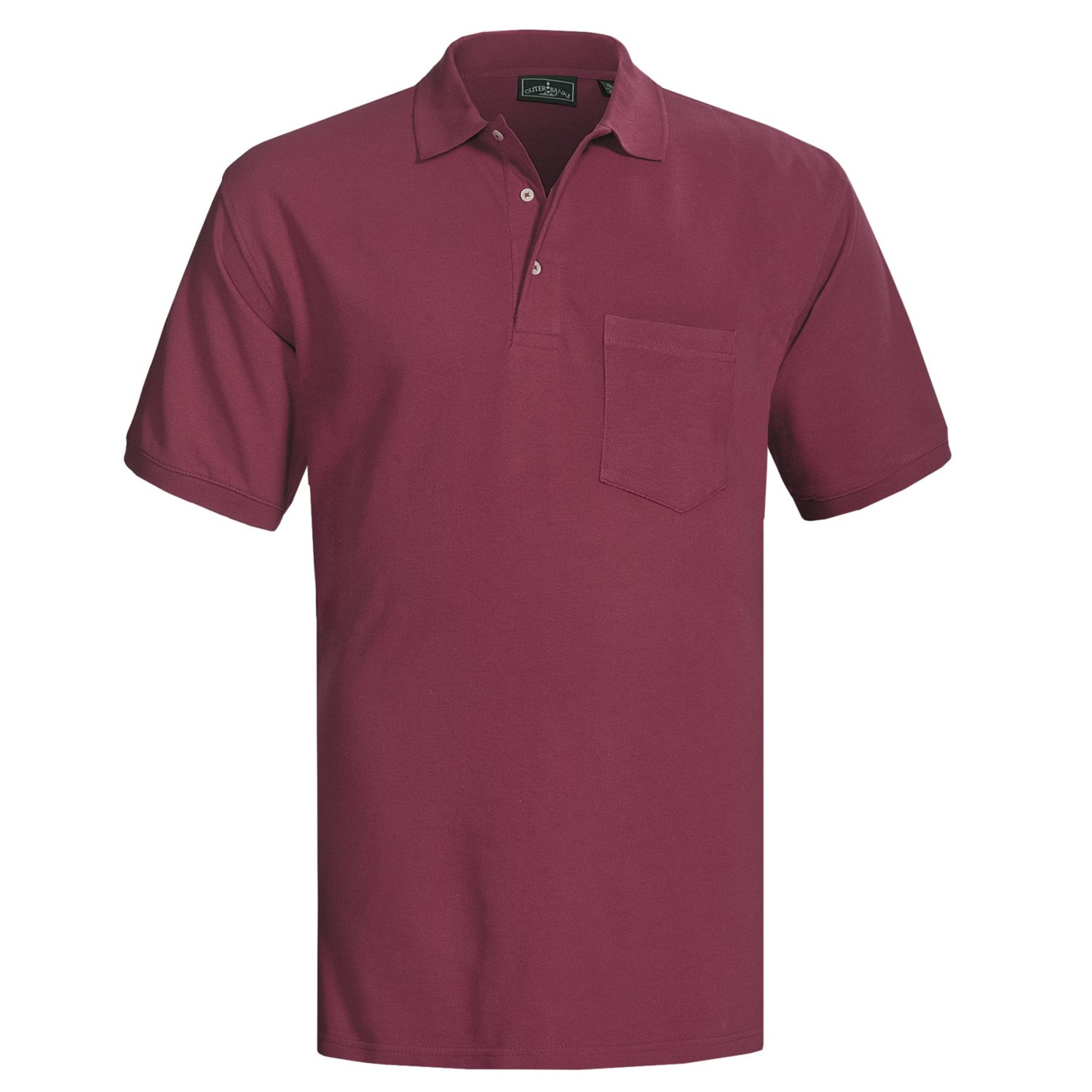 Outer banks ultimate cotton polo shirt pocket short for Short sleeve polo shirt with pocket