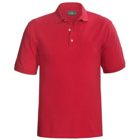 Outer Banks Ultimate Cotton Polo Shirt - Short Sleeve (For Tall Men) in Bright Red