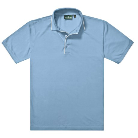 Outer Banks Ultimate Fashion Polo Shirt - No-Curl Collar, Short Sleeve (For Men) in Light Blue/White