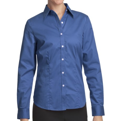 Outer Banks Ultimate Wrinkle-Resistant Dress Shirt - Cotton Twill, Long Sleeve (For Women) in Bimini Blue