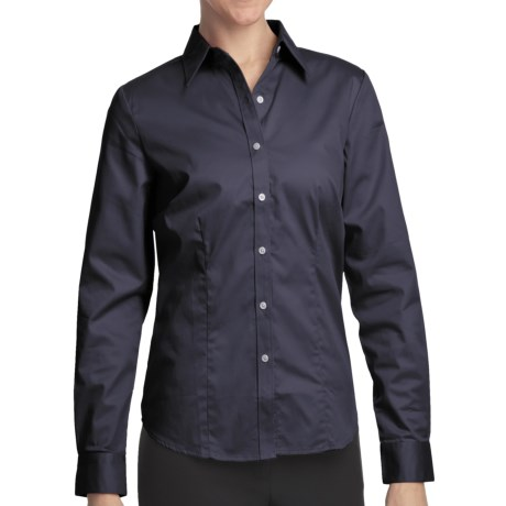 Outer Banks Ultimate Wrinkle-Resistant Dress Shirt - Cotton Twill, Long Sleeve (For Women) in Midnight Navy