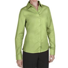 Outer Banks Ultimate Wrinkle-Resistant Dress Shirt - Stretch Cotton Poplin, Long Sleeve (For Women) in Spring Green - Closeouts