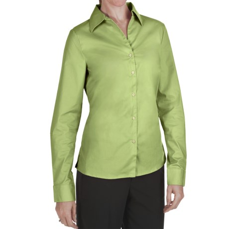 Outer Banks Ultimate Wrinkle-Resistant Dress Shirt - Stretch Cotton Poplin, Long Sleeve (For Women) in Spring Green