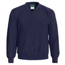 Outer Banks Water-Resistant Wind Shirt - Rib V-Neck, Long Sleeve (For Men and Women) in Navy - Closeouts