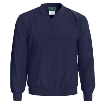 Outer Banks Water-Resistant Wind Shirt - Rib V-Neck, Long Sleeve (For Men and Women) in Navy