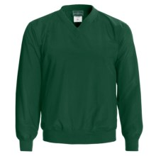 Outer Banks Water-Resistant Wind Shirt - Rib V-Neck, Long Sleeve (For Men and Women) in Pine - Closeouts