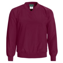 Outer Banks Water-Resistant Wind Shirt - Rib V-Neck, Long Sleeve (For Men and Women) in Wine - Closeouts